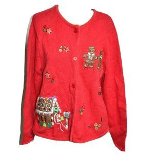 Crystal Kobe Holiday Gingerbread House Red Knit